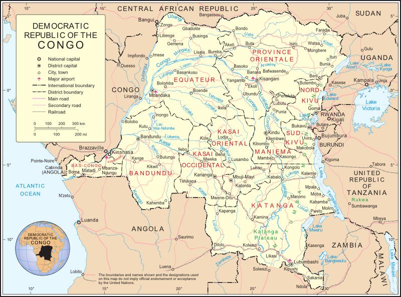 Repubblica democratica del congo mappa fisica for Repubblica politica