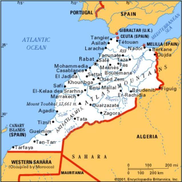 Cartina Geografica Fisica Del Marocco.Marocco Africa Settentrionale Africa Paesi Home Unimondo Atlante On Line
