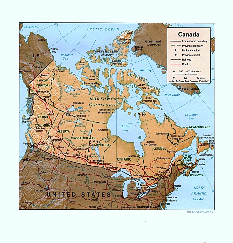 Canada Cartina Fisica.Canada America Settentrionale Americhe Paesi Home Unimondo Atlante On Line