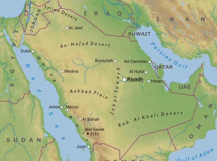 Asia Occidentale Cartina Politica.Arabia Saudita Mappa Fisica