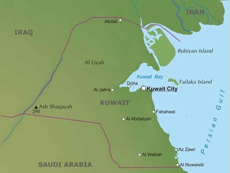 Asia Occidentale Cartina Politica.Kuwait Mappa Politica