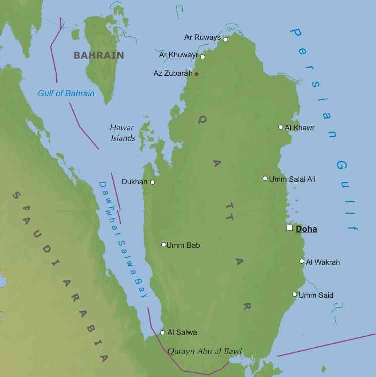 Asia Occidentale Cartina Politica.Qatar Mappa Politica