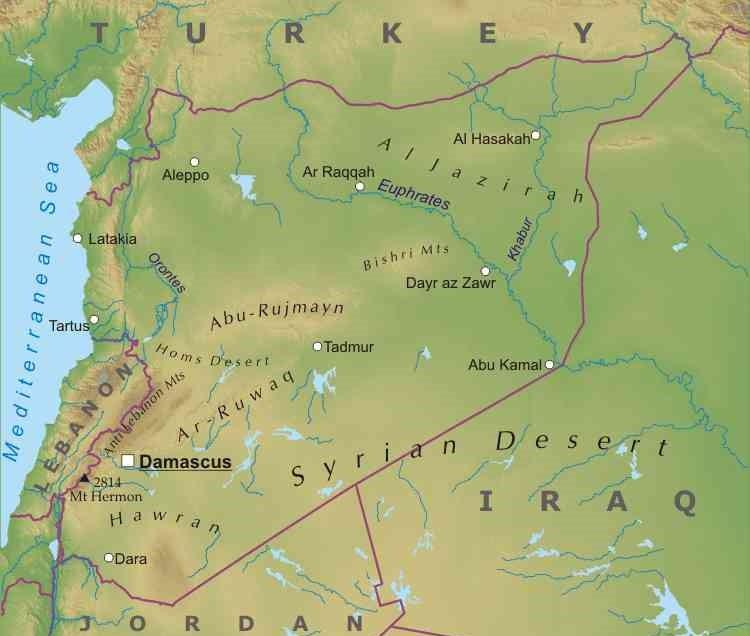 Asia Occidentale Cartina Politica.Siria Mappa Fisica