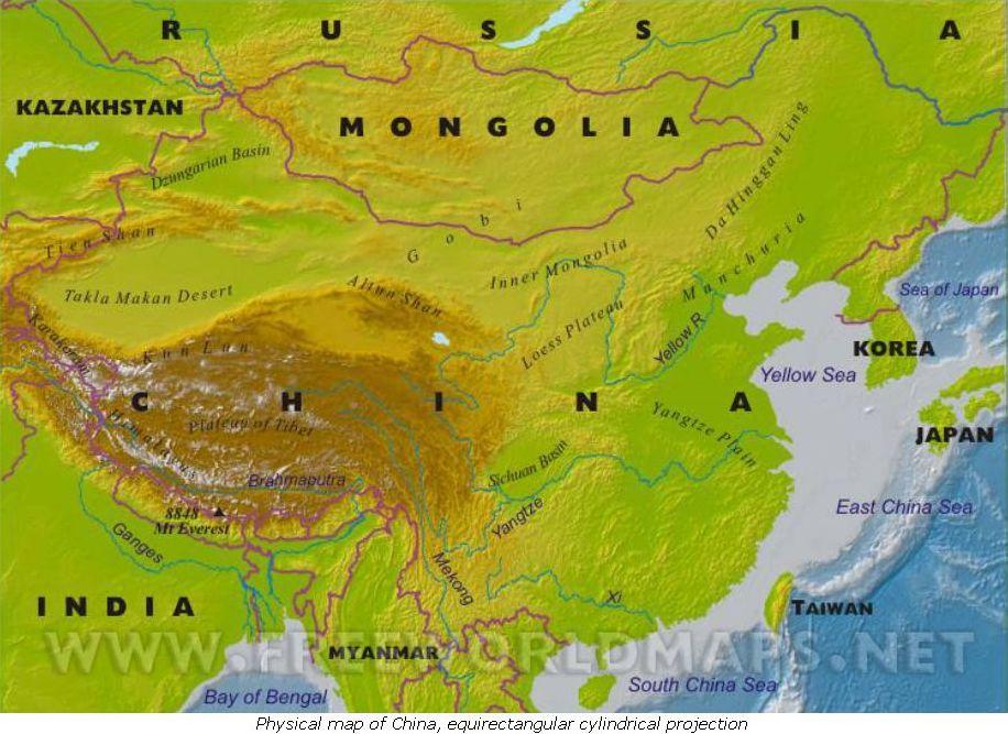 Cartina Asia Fisica.Cina Carta Fisica Carta