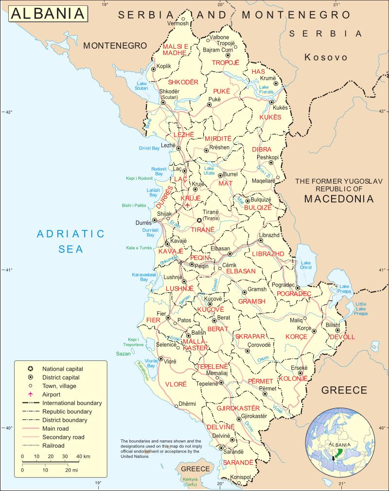 Albania Cartina Geografica.Albania Europa Meridionale Europa Paesi Home Unimondo