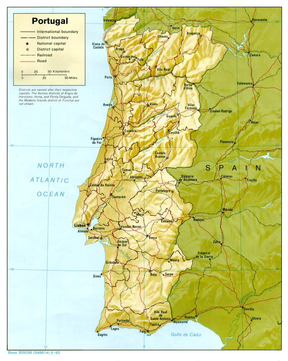 Cartina Portogallo Da Stampare.Cartina Fisica Muta Del Portogallo