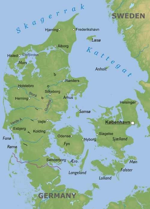 Cartina Della Danimarca.Danimarca Carta Geografica
