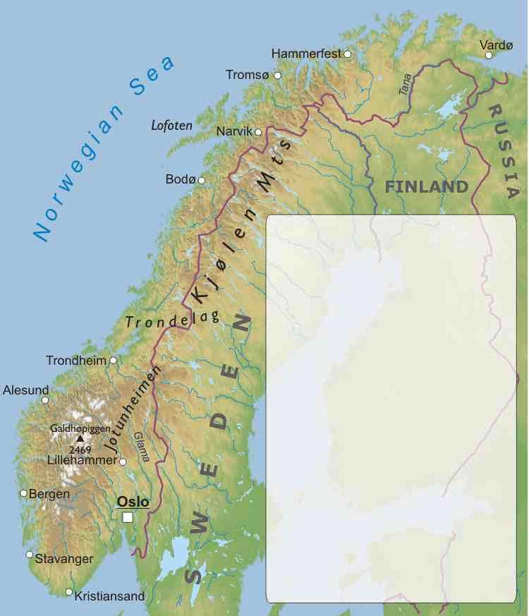 Cartina Fisica Della Norvegia.Norvegia Europa Settentrionale Europa Paesi Home Unimondo Atlante On Line
