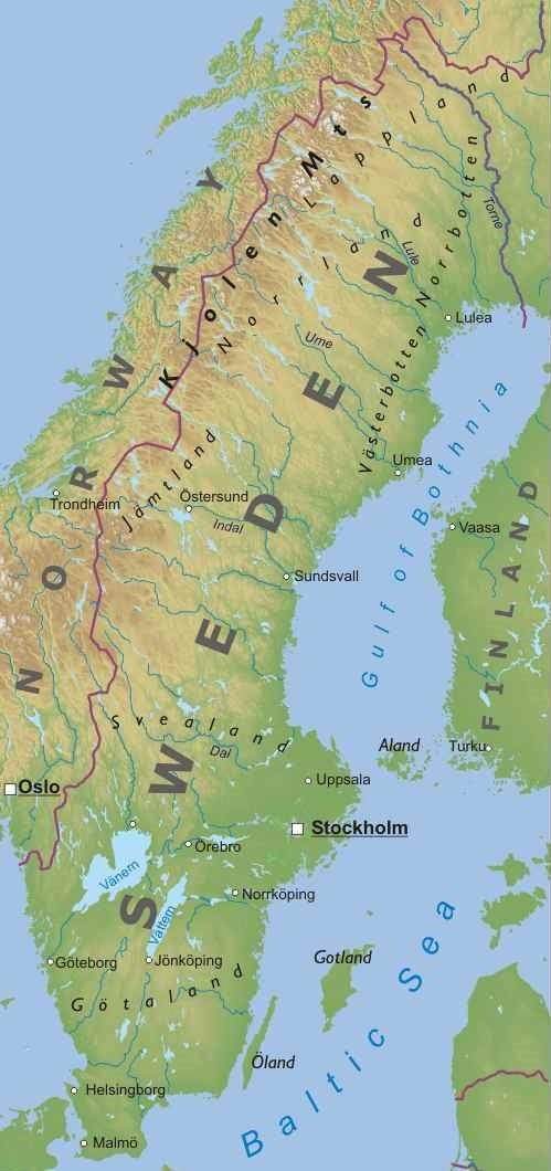 Cartina Politica Norvegia.Svezia Europa Settentrionale Europa Paesi Home Unimondo Atlante On Line