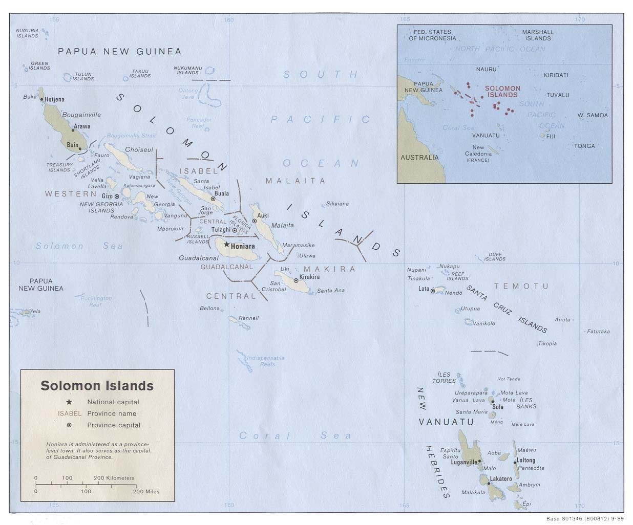 Carta politico amministrativa Isole Salomone Melanesia